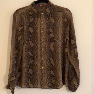 Brown python print button down blouse